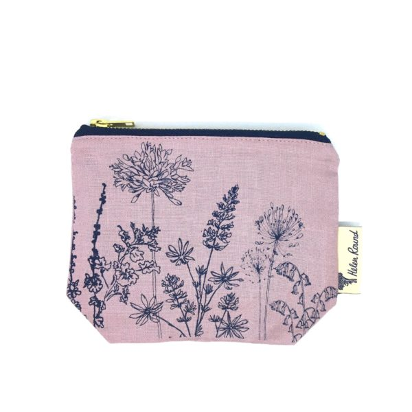 Helen Round Makeup Bag Garden Dusky Pink